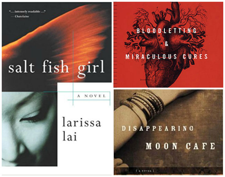 Book covers: Salt Fish Girl, Bloodletting & Miraculous Cures, Disappearing Moon Cafe